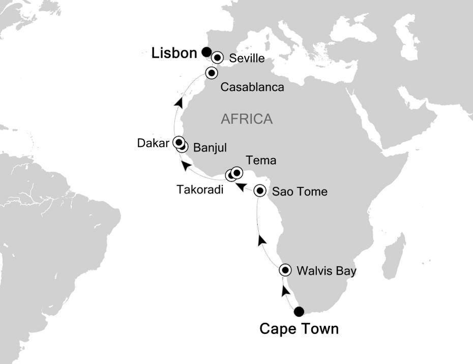 4908 - Cape Town nach Lisbon