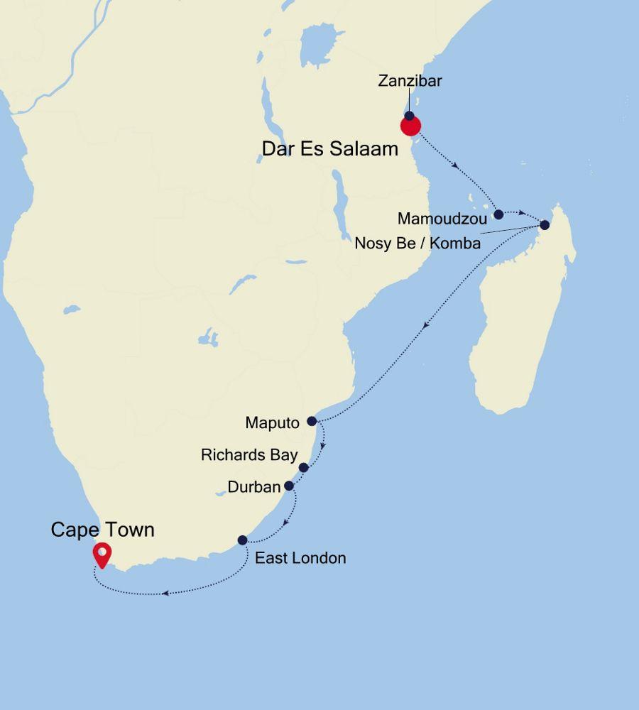 4907 - Mombasa nach Cape Town