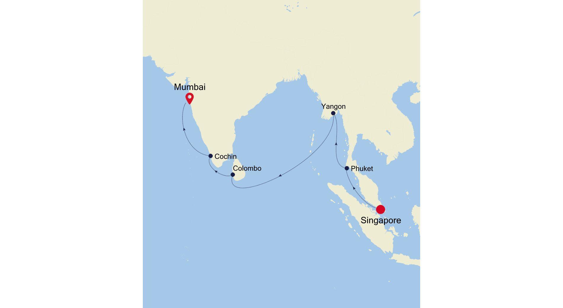 5005 - Singapore nach Mumbai