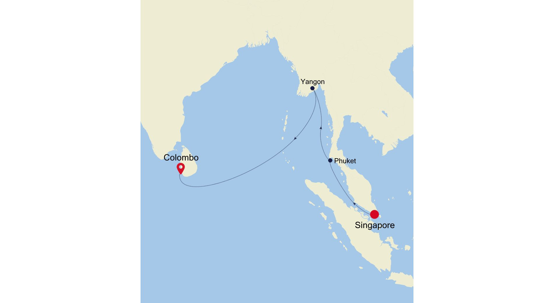 5005E - Singapore nach Colombo