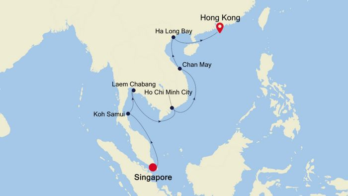 Map Of Asia Showing Singapore.Luxury Cruise From Singapore To Hong Kong 07 Dec 2019 Silversea