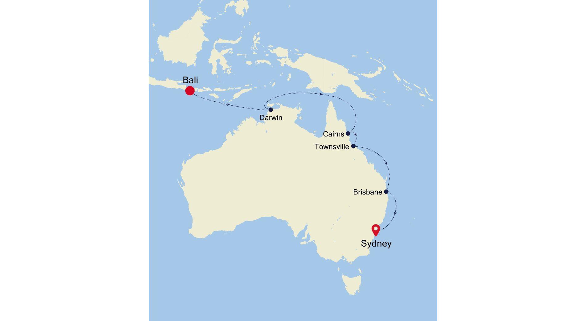 6930B - Bali a Sydney