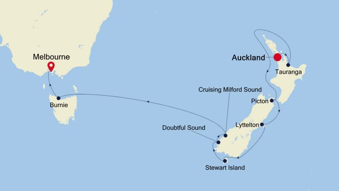Luxury Cruise from AUCKLAND to MELBOURNE 20 Dec 2019