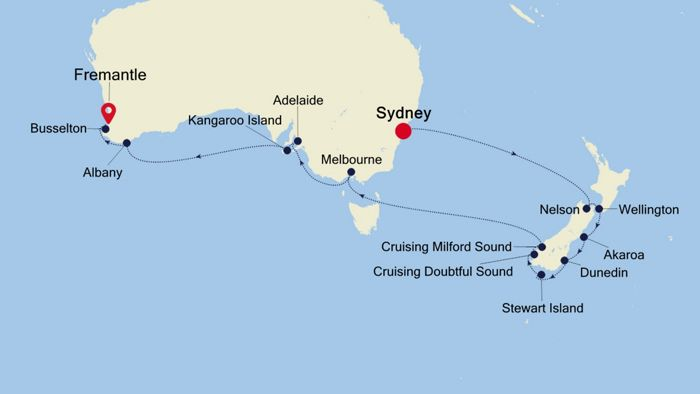 Luxury Cruise from SYDNEY to FREMANTLE (Perth) 31 Oct 2020