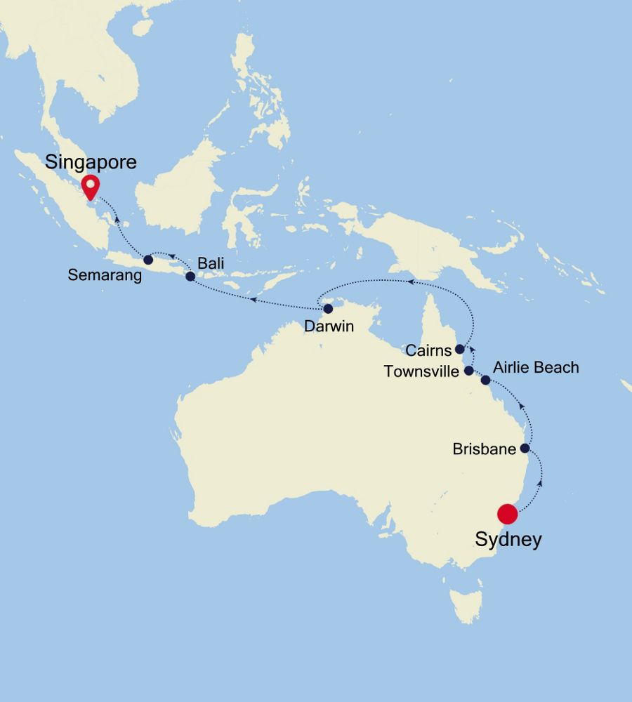 Sydney Travel Quotes: Luxury Cruise From SYDNEY To SINGAPORE 31 Mar 2020