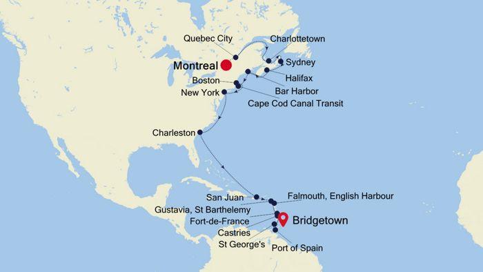 Luxury Cruise from MONTREAL to BRIDGETOWN 29 Oct 2019