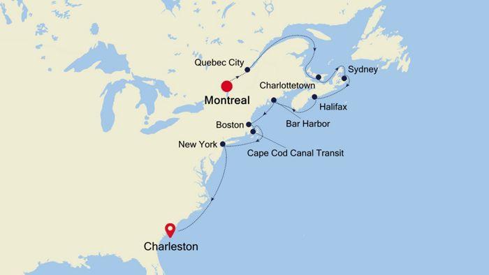 Luxury Cruise from MONTREAL to CHARLESTON (South Carolina