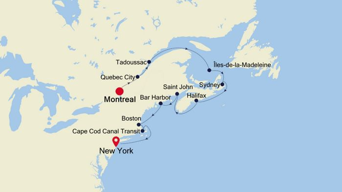 Map Of New York To Quebec Canada.Luxury Cruise From Montreal To New York 08 Oct 2019 Silversea
