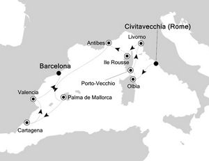 Luxury Cruise from Civitavecchia Rome to Barcelona 17 Jul 2019