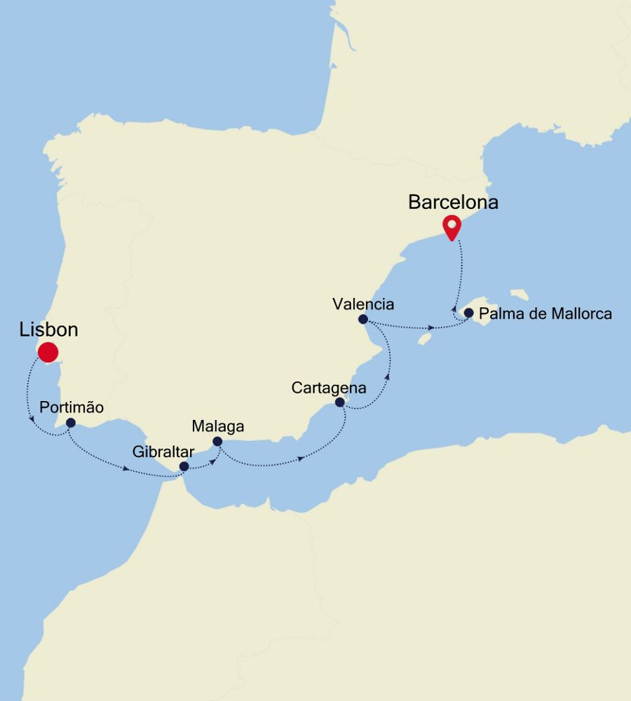Luxury Cruise From LISBON To BARCELONA 03 Sep 2020
