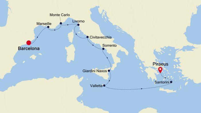 Luxury Cruise From Barcelona To Athens Piraeus 12 Sep 2020