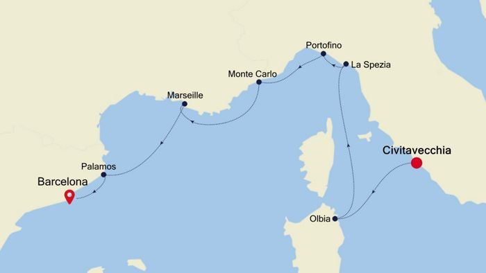 Luxury Cruise From Rome Civitavecchia To Barcelona 24 May