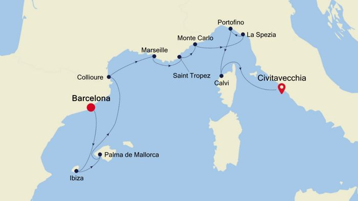 Luxury Cruise From Barcelona To Rome Civitavecchia 16 Jul
