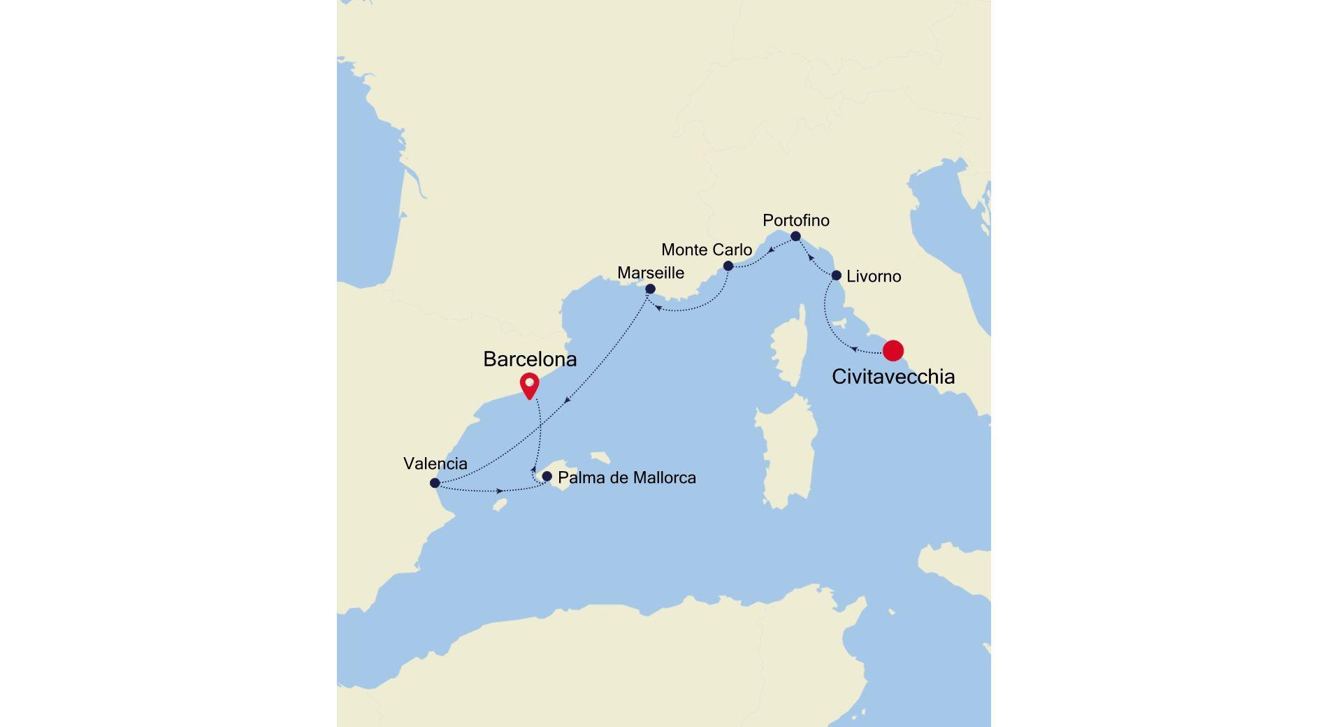 SS211015009 - Civitavecchia nach Barcelona