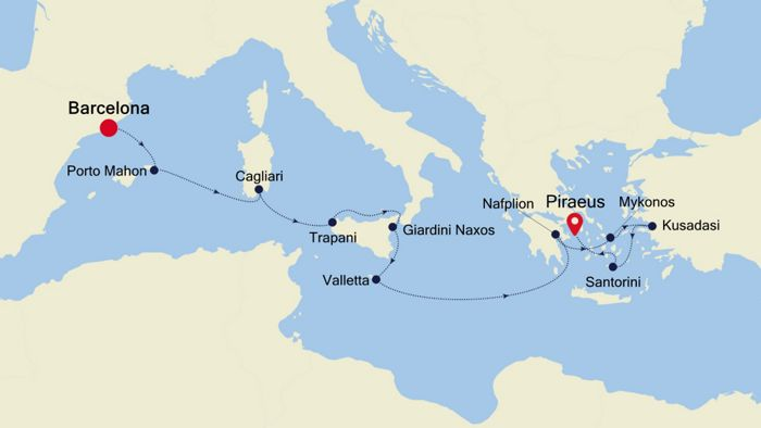 Mediterranean Cruise 2020.Luxury Cruise From Barcelona To Athens Piraeus 17 Oct 2020