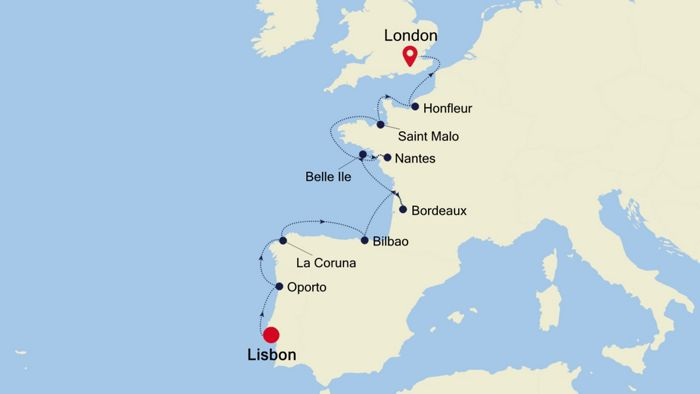 Luxury Cruise from LISBON to LONDON (Tower Bridge) 07 May