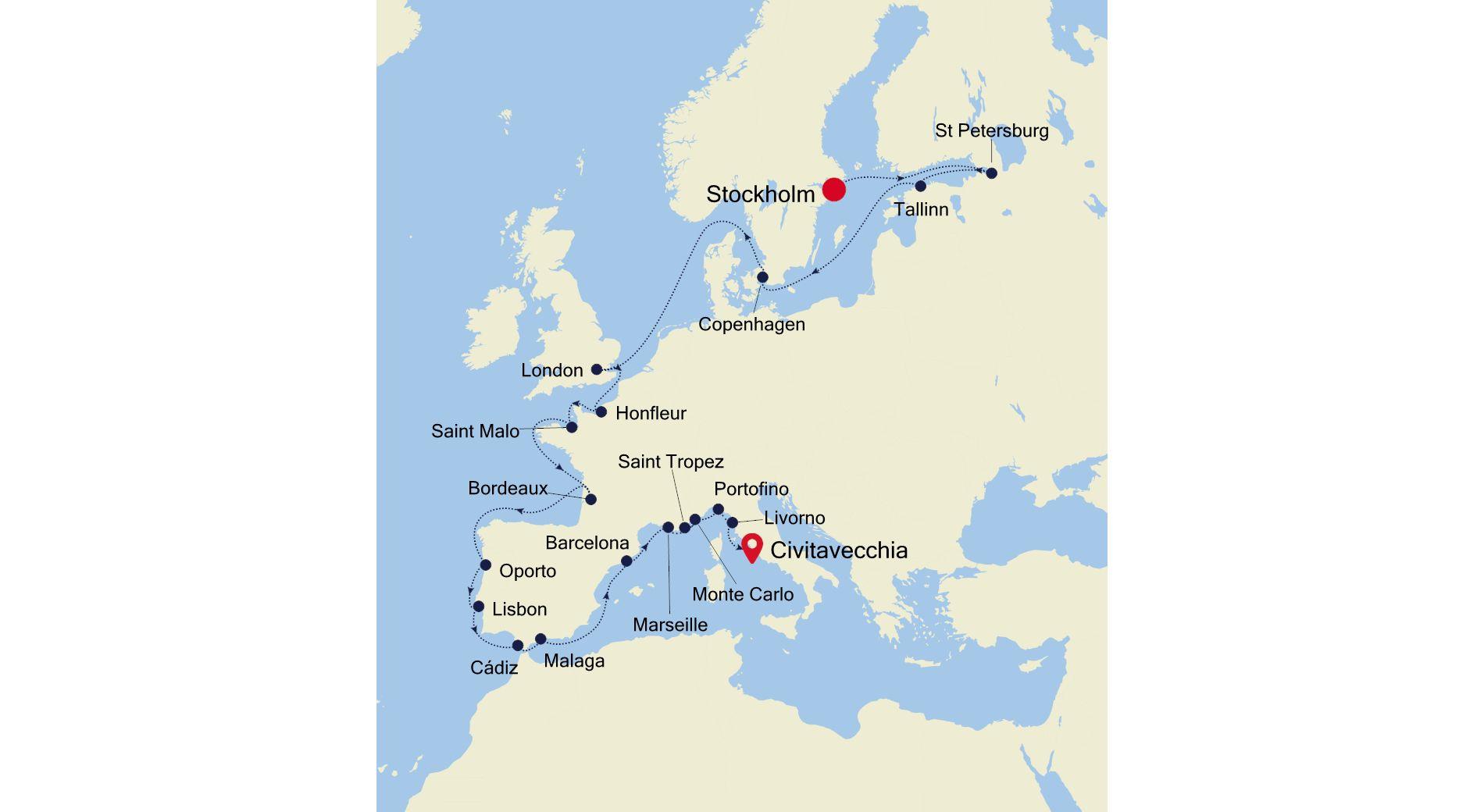 Luxury Cruise from STOCKHOLM to ROME (Civitavecchia) 28 Aug ...