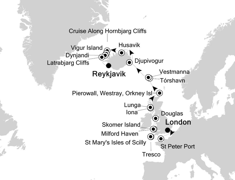 1913 - London nach Reykjavik