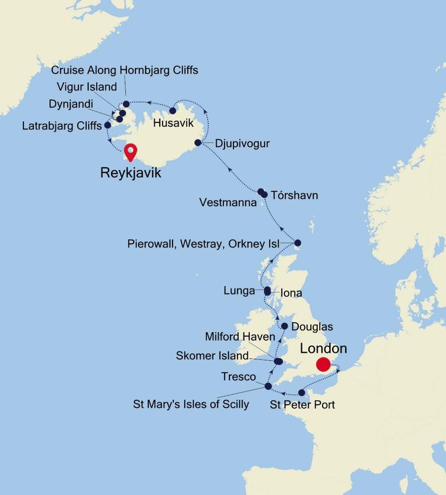 1913 - London a Reykjavik