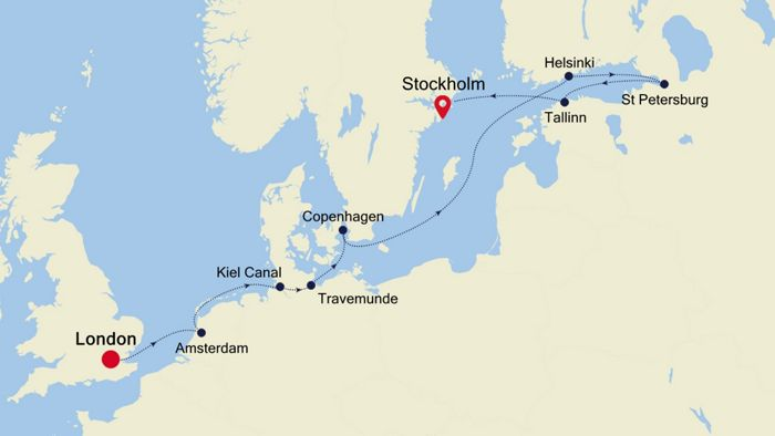 Luxury Cruise from LONDON (Tower Bridge) to STOCKHOLM 25 May