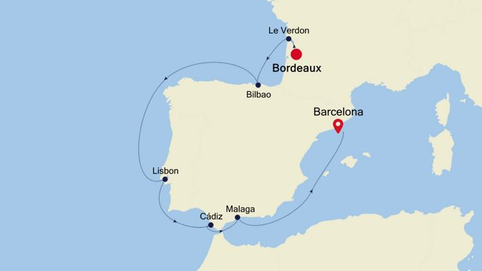 Luxury Cruise From BORDEAUX To BARCELONA 25 Mai 2019