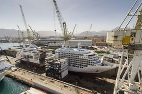 CUT IN TWO: THE LENGTHENING PROCESS OF SILVERSEA'S SILVER SPIRIT BEGINS AT FINCANTIERI SHIPYARD IN PALERMO