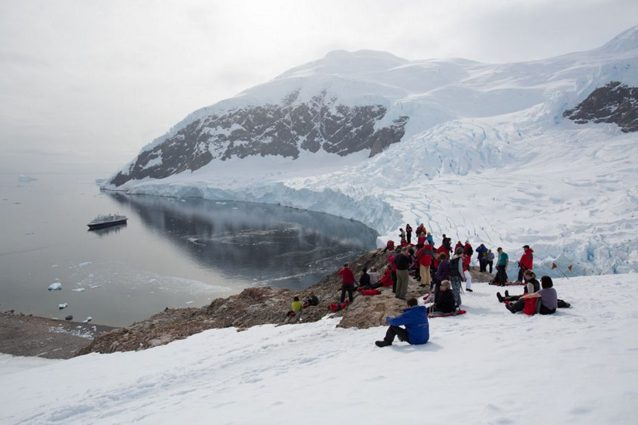 Guests atop Neko Harbour, Antarctica